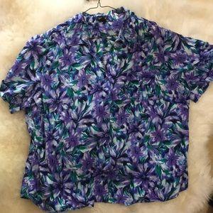 NWOT Erika Floral Short Sleeve Blouse 2X